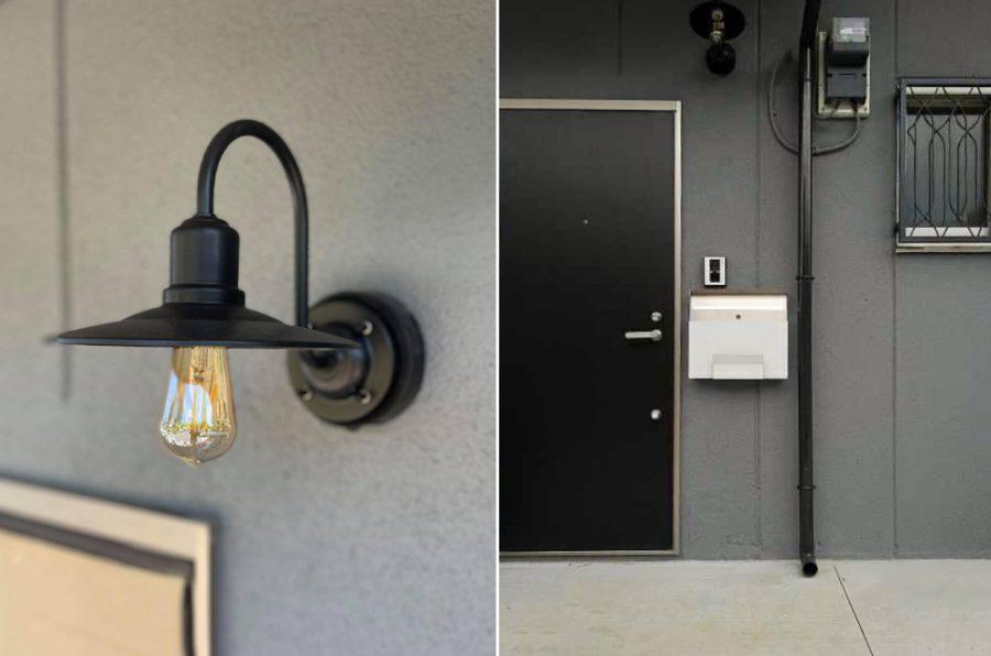 外壁はグレーに塗り替えられ、照明とあわせてシックな雰囲気に