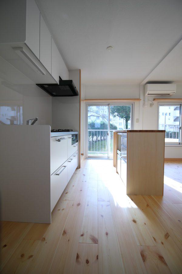 一人暮らしに十分なサイズ、と選ばれたコンパクトなシステムキッチン。対面する収納家具は外側だけを造作しその中に既製品を入れ込むことで予算を削減。