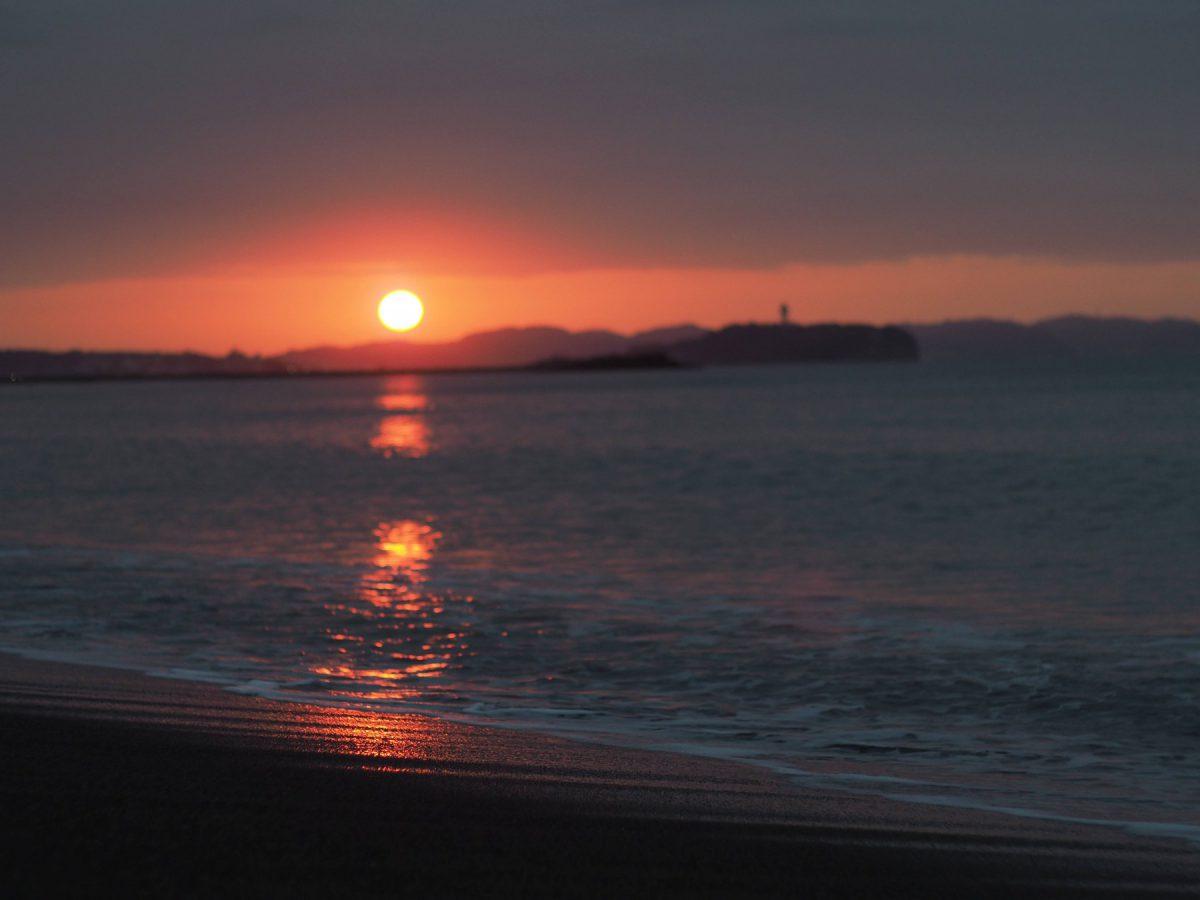 茅ケ崎まで朝日を見にいきました