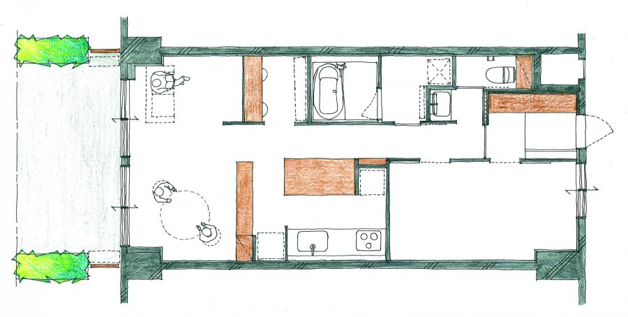 AFTER: 3DKから1LDK+ワークスペースに。空間を大きくとり、視線を遮らない低い家具で居場所を緩やかに仕切ることで無駄なく広々と使えるように。