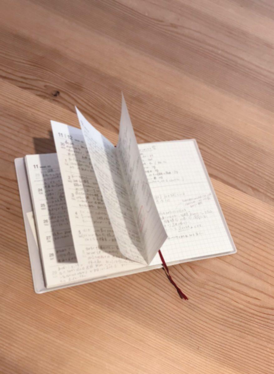 前の方に月ごとのカレンダー、後ろの方に週ごとの予定を書くスペースとメモ欄があります。そこを日記代わりに使ってます。