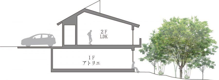 2階玄関からアプローチする鉄骨造2階建て