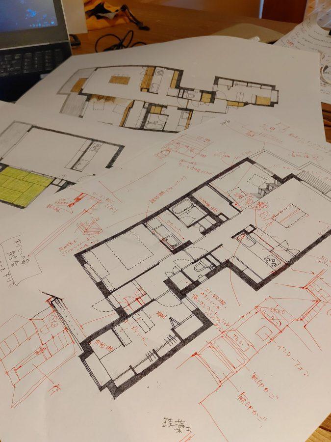 部屋ごとに素材や技法やアイデア、そしてお客様が大切にされたことなどを聞き取り&描き取りしていきます。